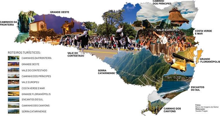 Confira o mapa do Turismo de Santa Catarina editado pelo orgão oficial de turismo do estado, a SANTUR.