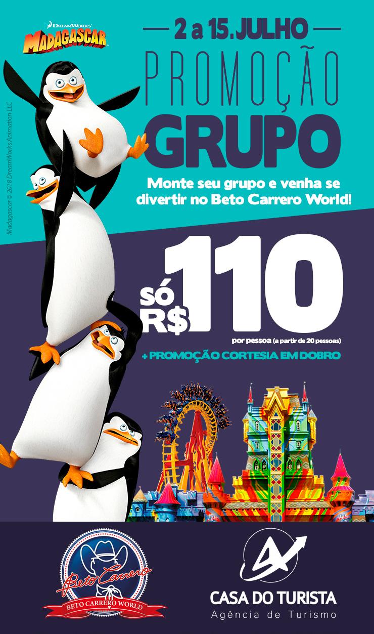Promoção Grupos Julho 2018 em Beto Carrero