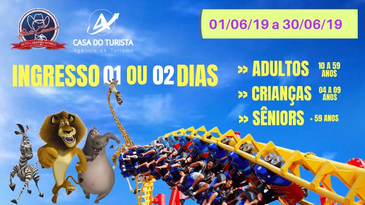Ingresso 01 ou 02 dias Beto Carrero Junho 2019